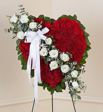 Red Solid Standing Heart with White Roses Spray on easel