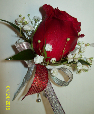 Red Sparkle Prom Boutonniere