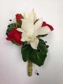 Red Spray Rose and White Orchid Boutonniere