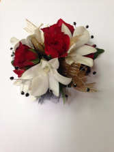Red Spray Rose and White Orchid Wrist Corsage
