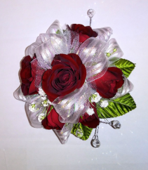 Red spray rose wrist corsage corsage