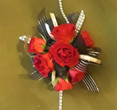 Red Spray Roses / Back and Gold Trim Wrist Corsage
