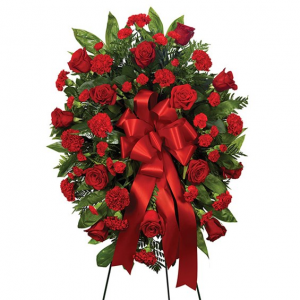 Red Standing Spray Item  #BF208-11KM in Arlington, TX | Erinn's Creations Florist