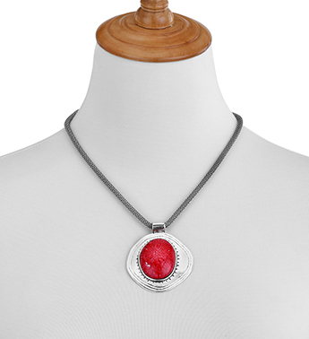 Red Stone Medallion Necklace Fort Worth Gift Shop