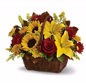 Red Sunrise Basket Arrangement in Riverside, CA | RIVERSIDE BOUQUET FLORIST