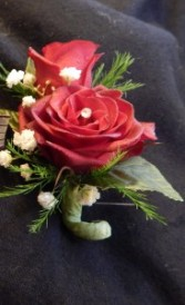 Red Sweetheart Roses Boutonniere