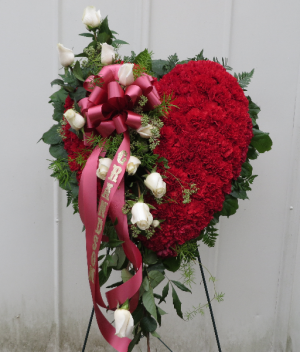 Red Sympathy Heart Fresh Heart Sympathy Arrangement in Farmville, VA | CARTERS FLOWER SHOP