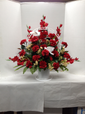 Red Tribute Silk Funneral Basket