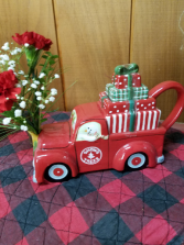 Red Truck Teapot Floral