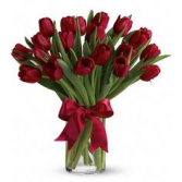 RED TULIP ELEGANT AND MIXTURE FLOWERS