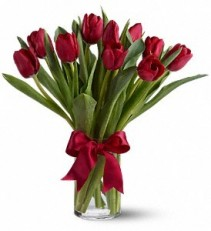 Radiant Red Tulips Vase Arrangement