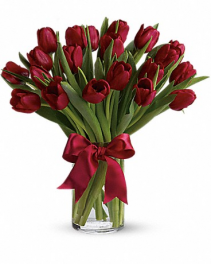 Radiantly Red tulips Vase Arrangement