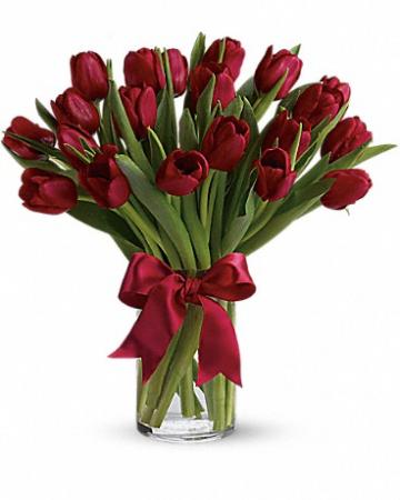 Radiantly Red tulips Vase Arrangement