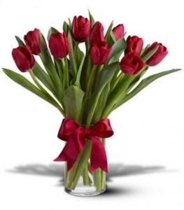 Red Tulips 10 stem Vased arrangement