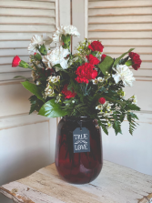 Red Vase Carnation Arrangement Valentine's Day Special