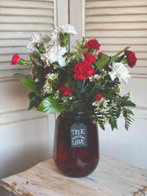 Red Vase Carnation Arrangement Valentine's Day Special