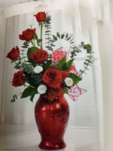 red vase with hearts special