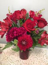Red Velvet Vase Arrangement