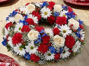 Red, White and Blue Wreath Centerpiece in Croton On Hudson, NY | Cooke's Little Shoppe Of Flowers