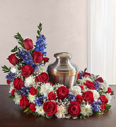 Red, White and Blue Cremation Wreath $175.95, $200.95, $225.95
