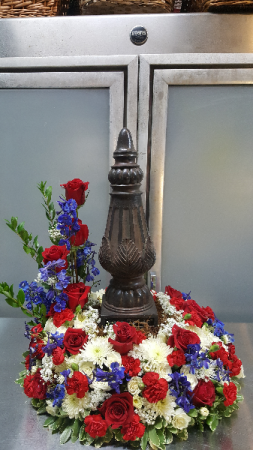 Red, White and Blue Cremation Wreath