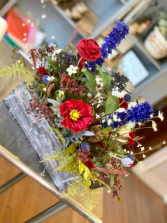 Red White and Blue Flower Box Silks