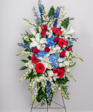 Red, White and Blue Garden Standing Spray in Chatham, NJ | SUNNYWOODS FLORIST