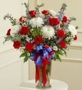 RED WHITE AND BLUE LARGE SYMPATHY VASE
