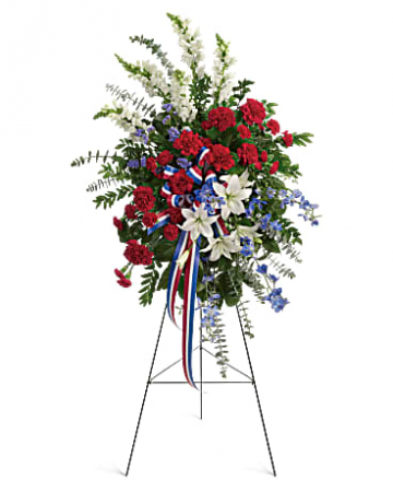 "RED, WHITE, AND BLUE PATRIOTIC STANDING FUNERAL PC ON A 5'-6"" STAND"