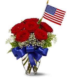 Red White and Blue Rose Vase Vase Arrangement