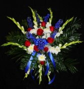 Red, White and Blue Standing Spray 3D Floral Design