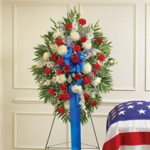 Red White and Blue Standing Spray Funeral Flowers