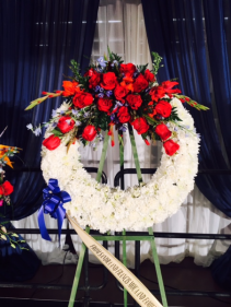 Red, white and blue standing wreath