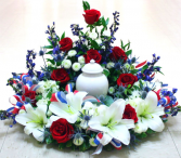 red white and blue surrounding urn