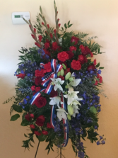 Red white and blue tribute spray Standing spray