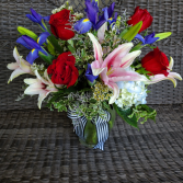 Red white and blue Vase arrangement