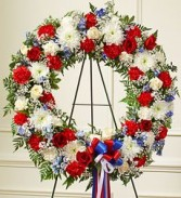 Red White and Blue Wreath Funeral Flowers