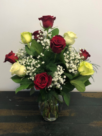 Red, White, and Green Roses Vase Arranagement