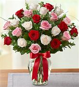 RED WHITE AND PINK ROSES IN A VASE 3 DOZEN RED WHITE AND PINK ROSES  3 dozen