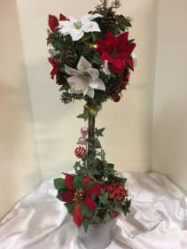 "Red, white and silver topiary 30"" silk arrangement with lights"