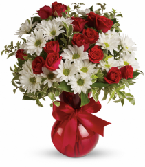 Red white and you Valentine bouquet