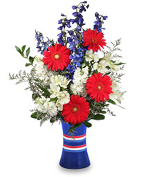 RED, WHITE & BEAUTIFUL Bouquet of Flowers