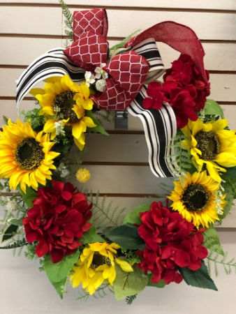 Red white black sunflowers wreath
