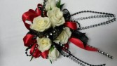 Red White & Black Wrist corsage