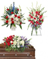 Red, White, Blue Funeral Package Pedestal Piece, Standing Spray, and Casket Piece