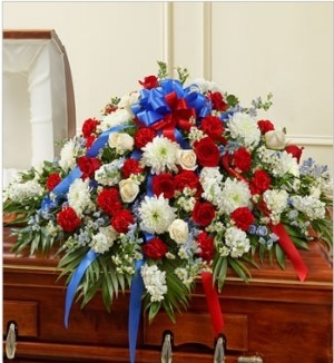 RED WHITE& BLUE  HALF CASKET in Garrett Park, MD | ROCKVILLE FLORIST & GIFT BASKETS