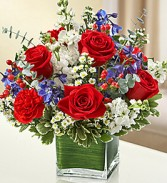Red, White, & Blue Healing Tears Vase Arrangement