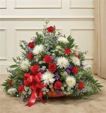 Red, White & Blue Mixed Fireside Basket Funeral - Sympathy