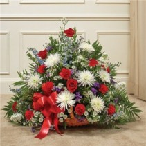 Red, White & Blue Mixed Flower Fireside Basket