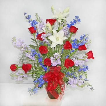 RED, WHITE, & BLUE PATRIOTIC FLORAL VETERAN'S DAY